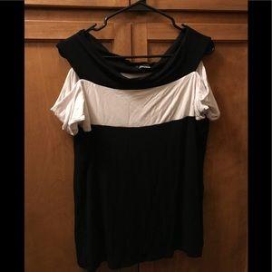 Black /White cold shoulder top